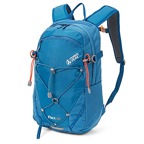 Terra Peak Flex 20 Trekkingrucksack für Herren und Damen blau 20 Liter Volumen Skirucksack moderner survival Rucksack zum Trekking mit Regenhülle und gepolstertem Tragesystem optimal für lange Touren