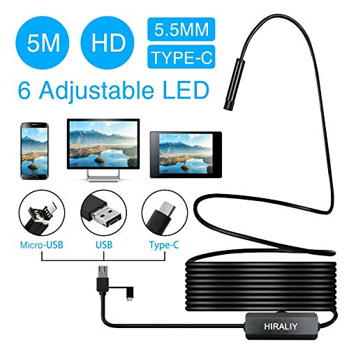 USB Endoscope Camera for Android, HIRALIY 3 in 1 Semi-Rigid Type C Borescope USB C Inspection Camera HD Waterproof Snake Camera with 6 Adjustable Led Light for Android Smartphone,Windows PC-16.4ft/5M