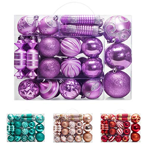 AMS 81ct Christmas Ball Assorted Pendant Shatterproof Ball Ornament Set Seasonal Decorations with Reusable Hand-Help Gift Boxes Ideal for Xmas, Holiday and Party (81ct, Light Purple)