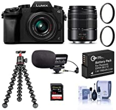 $598 » Panasonic Lumix DMC-G7 Mirrorless Camera with Lumix G Vario 14-42mm and 45-150mm Lenses Lens, Black - Bundle with 64GB SDXC Card, Joby GorillaPod 3K Kit, Stereo Condenser Mic, Spare Battery, More