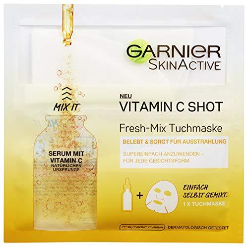 Garnier SkinActive Vitamin C Shot Fresh-Mix Tuchmaske, feuchtigkeitsspendend, belebt und verbessert die Ausstrahlung, 3er-Pack (3 x 33 g)