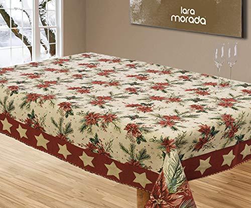 LARA MORADA Mantel navideño de mesa, línea Prestige de tejido Gobelin de algodón con impresión individual y detalles dorados (12 plazas)