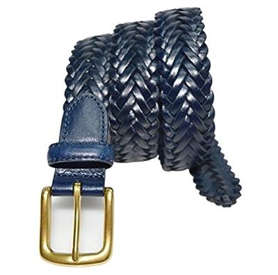 "W796 - Women's casual woven herringbone braided leather belt with brass buckle (M (fits 34"" waist), Navy)"