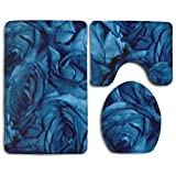 GGdjst Roses Can Sing The Blues 3 Piece Bathroom Rug Mat Set Soft Memory Foam Bath Carpet Contour Rug with Lid Cover