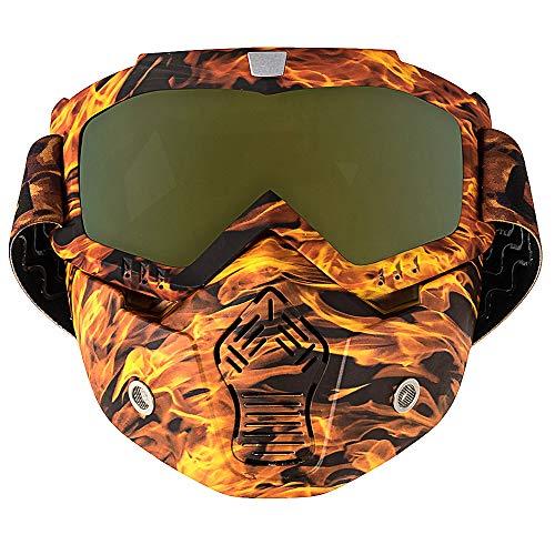 Nawenson Motorrad Gesichtsmaske Abnehmbare Schutzbrille mit Mundfilter für Jethelm für Motocross Ski Snowboard (Gelb & UV)