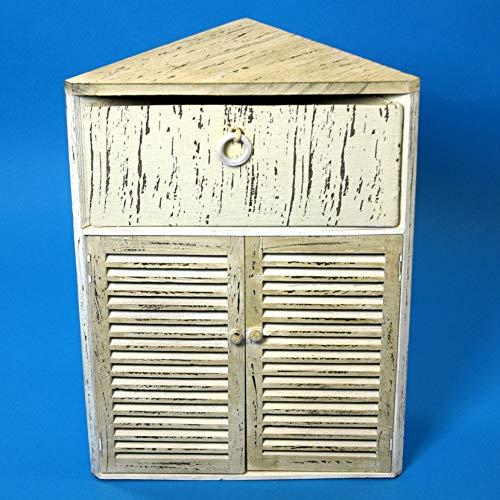 GeKi Trend Chabby Chic Eckschrank klein Kommode Holz 1 Schublade und Lamellentür 63 cm H Landhaus Vintage Möbel Badezimmer Wohn-Deko Schlafzimmer