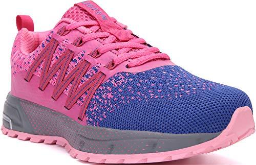 SOLLOMENSI Zapatillas de Deporte Hombres Mujer Running Zapatos para Correr Gimnasio Sneakers Deportivas Padel Transpirables Casual Montaña 36 EU H Rosa
