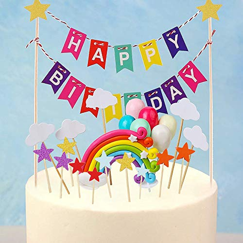 Lifreer 5Packs Cake Topper-Einhorn Regenbogen Cake Topper, Ballon Topper, Bunte Happy Birthday Cake Topper, White Cloud Cake Topper und Mix Color Star Cake Topper für Kinder Kuchen Dekorationen
