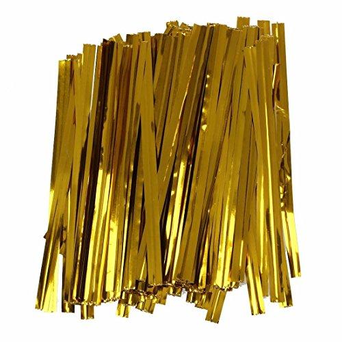 TOOGOO(R) 100 PC hierro de alambre dorado cierre de torsion de corbata bolsa de dulces galleta lollipops