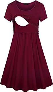 Quinee Women's Floral Short Sleeve Summer Maternity Nursing Breastfeeding Dress