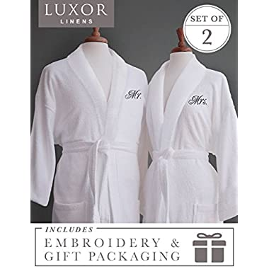 Luxor Linens Couple's Terry Cloth Bathrobe Set- Unisex/One Size Fits Most - Luxurious, Soft, Plush, Elegant Script Embroidery - Perfect Wedding Gift San Marco - Mr. & Mrs. with Gift Packaging