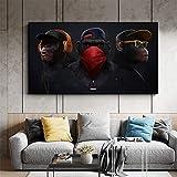 KWzEQ Pintura sin Marco Mono de Pensamiento Divertido con Auriculares Lienzo Arte de la Pared póster Animal Decorar Sala de estarAY6732 30X50cm