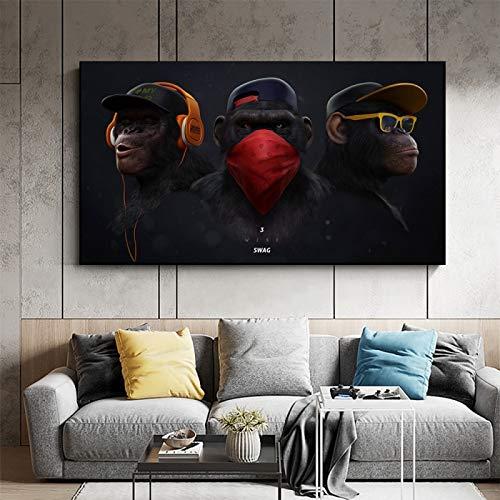 ganlanshu Rahmenlose Malerei Lebendige Raumdekoration mit lustigem denkendem Affen mit Kopfhörern Leinwandwandkunstplakat und Tierwandbild 30X52cm