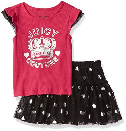 Juicy Couture Little Girls' Toddler 2 Piece Skirt Set, Pink, 3T