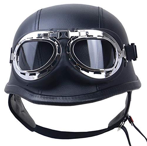 Cascos De Moto,Casco Moto Abierto,Medio Casco De Motocicleta Retro,ECE Homologado Retro Half Moto Cascos Helmet De La Bici Del Casco Del Viaje Crucero Bicicleta, black,XL= 61-62cm