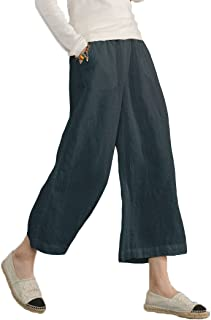 0b850bc023207 Ecupper Women s Elastic Waist Causal Loose Trousers Plus 100 Linen Cropped  Wide Leg Pants