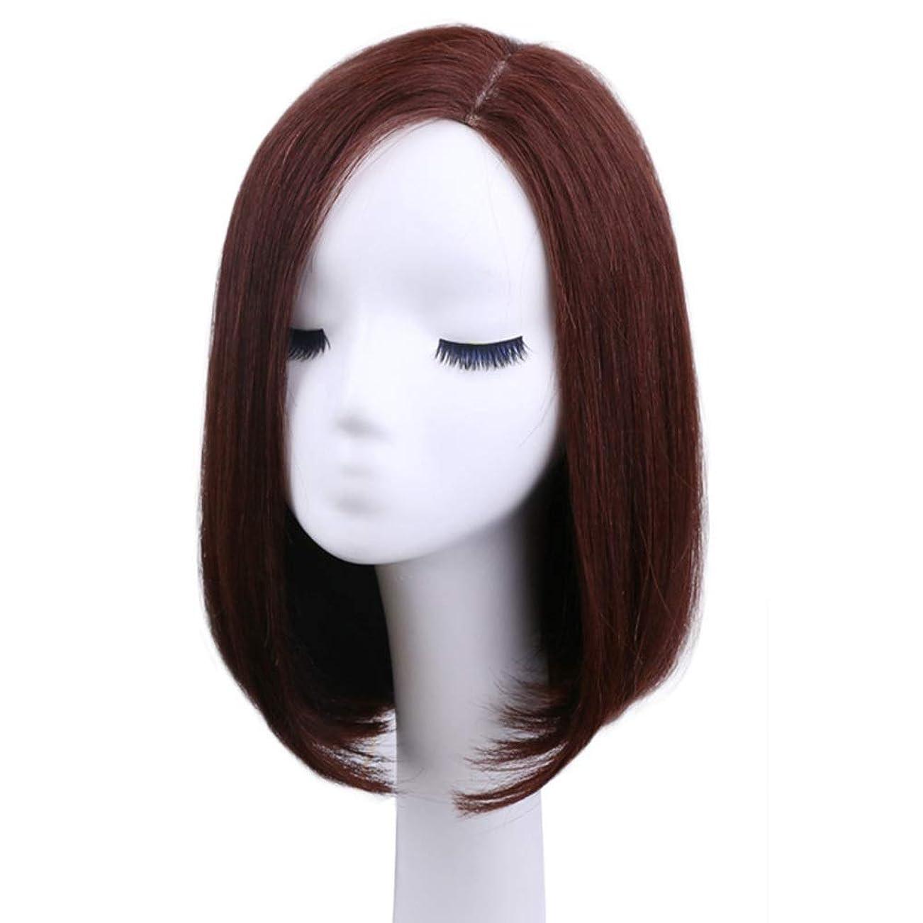 枠相談実際のIsikawan 女性の毎日のドレスリアルヘアボブウィッグのためのバックルストレートヘア (色 : Dark brown, Design : Mechanism)