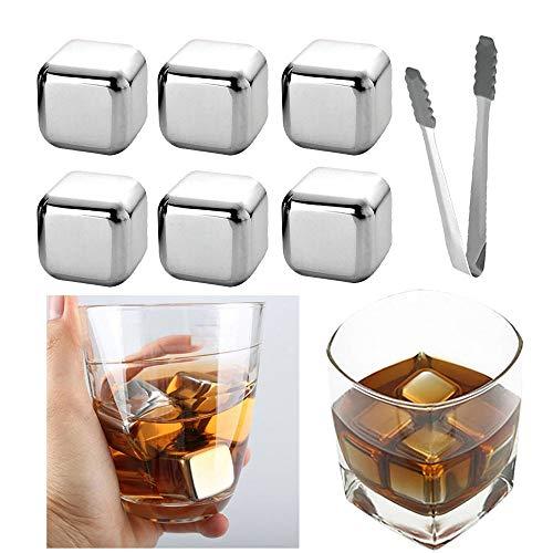 OurLeeme Cubetti di Ghiaccio per Whisky, Pietre di Raffreddamento riutilizzabili Whiskey di Acciaio Inossidabile Pietre per Raffreddare con pinze per Ghiaccio Miglior Regalo per Gli Uomini (6PCS)