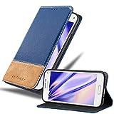 Cadorabo Hülle für Samsung Galaxy S5 Mini / S5 Mini DUOS in BLAU BRAUN – Handyhülle mit Magnetverschluss, Standfunktion & Kartenfach – Hülle Cover Schutzhülle Etui Tasche Book Klapp Style