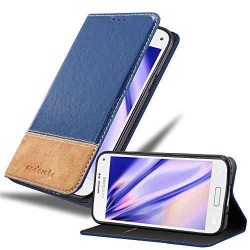 Cadorabo Custodia Libro per Samsung Galaxy S5 / S5 Neo in Blu Scuro Marrone - con Vani di Carte, Funzione Stand e Chiusura Magnetica - Portafoglio Cover Case Wallet Book Etui Protezione