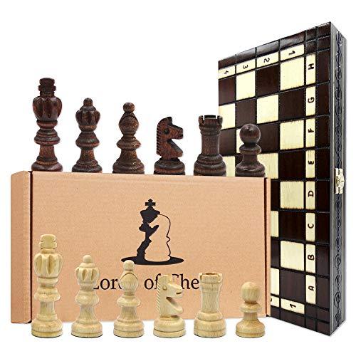 Amazinggirl Schachspiel Schach Schachbrett Holz 35 cm - braun Chess Board Set klappbar mit Schachfiguren groß