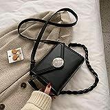 Bolso Femenino Tendencia de Moda Todo-Partido un Hombro Mensajero sobre de Cuero pequeño Bolso Cuadrado Bolsa de lápiz Labial Negro