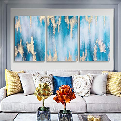 Hand Painted Large Blue Abstract Gold-Lined Oil Paintings Wall ArPaintings Large Canvas Wall Art for Bedroom Living Room Canvas Art 24inches by 36inches X 3PCS Framed and Stretched 3 Panelsabstract