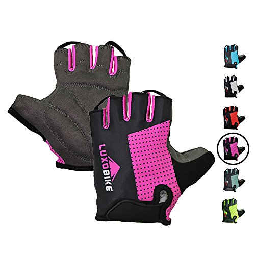Cycling gloves (Pink - Half finger, M)