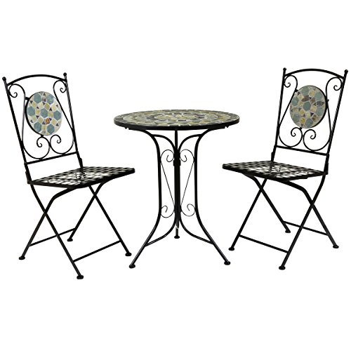 Charles Bentley 3 Piezas de Mosaico Bistro Fijado Hierro Forjado - Mesa & 2 Sillas de Cubierta - Uso Al Aire Libre