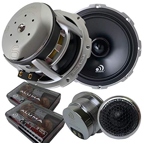 Massive Audio ALUMA 6 – 6.5 Inch, 300 Watts RMS and 500 Watts MAX, 25mm Silk Dome Tweeter, 2 Ohm, 12dB Linkwitz–Riley Crossover, Component Kit Speakers. Sold as Pair
