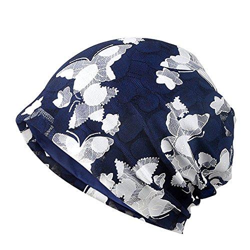 Aesy Berreto Turbante per la Perdita di Capelli Cancro Chemioterapia, Cuffia da Notte in Cotone per Chemio, Ciclismo, Corsa - Floreale Cappello Beanie Slouchy Hat per Donna (Blu #D)