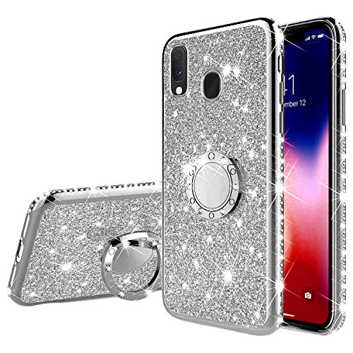 Robinsoni Cover Compatibile con Samsung Galaxy A20e Custodia Flessibile Galaxy A20e Silicone TPU Brillante Glitters Cover Rotante Squillare Supporto Custodia Sottile Gel Ultra Morbido Cover