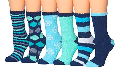 Tipi Toe Women's 6-Pairs Cozy Microfiber Anti-Skid Soft Fuzzy Crew Socks FZ08-6