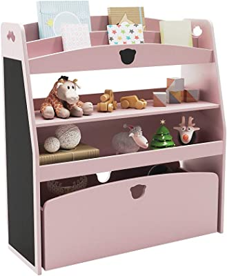 Bestier Kids Bookshelf Toy and Book Storage Organizer, Children's Bookshelf Toy Box Chest Furniture with Rolling Box and Safety Anchor, Multi-Purpose Wood Toy Shelf in Kids Bedroom, Pink (P2 MDF)