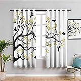 Flying Birds Decor Collection - Cortinas térmicas aisladas para oscurecimiento de habitación (150 x 150 cm), diseño de pájaros en ramas de árbol, flores y hierbas, color negro y amarillo