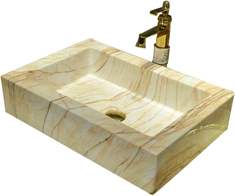 XCJ Badezimmer Keramik Waschbecken, Rechteck Glanz Aufsatzwaschbecken Keramik , 57X40X13 cm (Wasserhahn Nicht Inbegriffen) Waschbecken Waschpltze