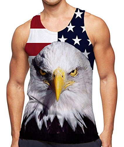 RAISEVERN Men's Tank Tops Summer Workout Sleeveless Tee Cool Red White Striped Stars American Flag Animal Printed Athletic T-Shirts Sports Fitness Vest Athletic Training Undershirts