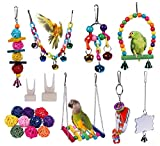 Ubrand 19 Pack Parakeet Toys,Birds Parrot Toys,Natural Wooden Hanging Bell Pet Bird Cage Toys,Bird Swing Chewing Toys,for Small Parrots,Finches,Cockatiels,Conures,Love Birds,Macaws