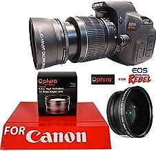 OPTURA HD Photo Wide Angle + Macro Lens for Canon Rebel EOS T1 T2 T3 T4 T5 T6 SL1 SL2 SL3 XSI XTI T7 T3I T5I T4I 7D 80D + OPTURA Micro Fiber Cloth