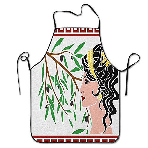 Not Applicable Mythologisches Aphrodite-Profil und Olivenzweig Griechische Grenzen Rahmendruck Schürze für Küche BBQ Barbecue Koch Chef Geschenk für Frauen/Männer