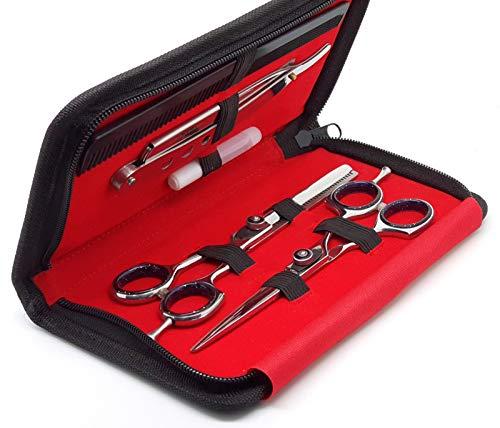 RAPRO RP-SS-02 Professional Barber Haarscheren Set inkl. Barber Scheren, Stilvolle Effilierschere, gerade Rasierklinge Rasiermesser mit Haar mit Kamm und Schere Fall