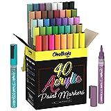 Chalkola 40 Acrylstifte für Steine, Glas, Holz, Leinwand -