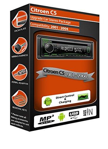 Poste radio stéréo Kenwood CD lecteur MP3 avec USB en façade AUX IN pour Citroen C5
