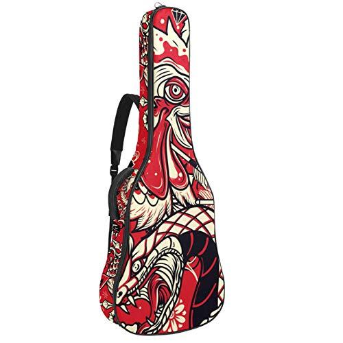Bolsa de guitarra Bolsa de guitarra para guitarras eléctricas Tela Oxford impermeable Bolsa de guitarra 2 bolsas de almacenamiento Dragón Rojo Fénix 42.9x16.9x4.7 in
