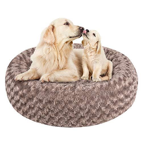 Cama redonda de felpa de lujo para mascotas, cama de cojín desmontable para gatos, camas cálidas para perros, sofás de tela suave y duradera, antideslizante, para perros pequeños, medianos y grandes