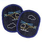 Hosenflicken Hubschrauber Knieflicken 2 Flicken zum aufbügeln 10 x 8 cm Jeansflicken Helikopter Bügelflicken Bio Jeans blau Aufbügler für Kinder als Bügelbilder und Applikationen für Kinderhosen