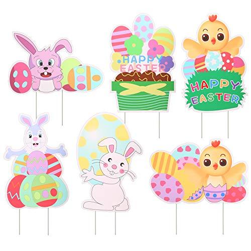 KATOOM 6 letreros para Patio de Pascua con estacas, Lindo Letrero para jardín al Aire Libre con Huevos de Conejo y patrón de Pollo, estaca para césped para decoración de Patio de Fiesta de Pascua