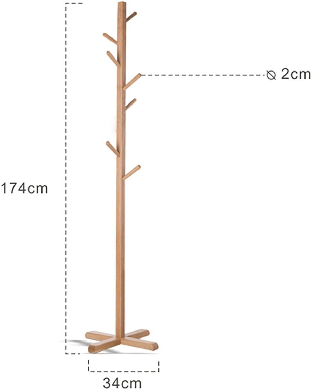 Northern European Solid Wood Coat Rack Hanger Floor-Standing Bedroom Clothes Rack Simple Single-Pole Home Hanger Japanese Style
