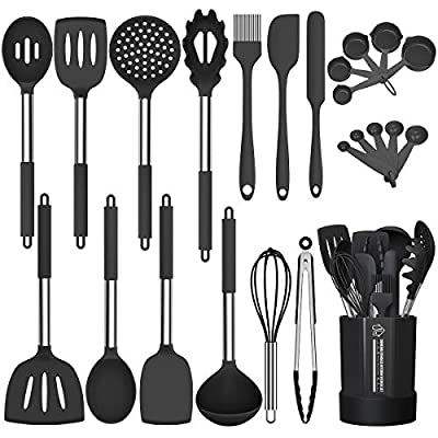 Silicone Cooking Utensil Set, Fungun Non-stick Kitchen Utensil 24 Pcs Cooking Utensils Set, Heat Resistant Cookware, Silicone Kitchen Tools Gift with Stainless Steel Handle (Black-24pcs)