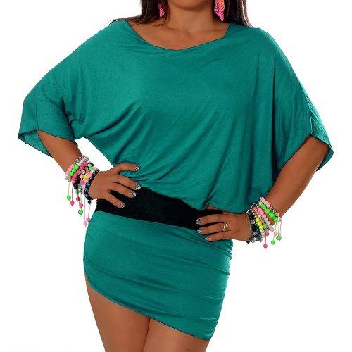 G001 Damen Longshirt Tunika Kleid Pullover Shirt Minikleid Fledermaus, Farben:Türkis;Größen:Einheitsgröße
